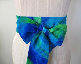 Obi Belt Blue Green Lime Aqua Teal White Hawaiian Floral Ombre Beach Acrylic Vintage Fabric by ccdoodle on etsy - made to order
