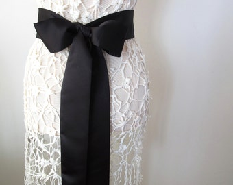 Black Matte Satin Sash, Bow Belt, Wedding Sash, Bridal Sash, Bridesmaid Sash by ccdoodle on etsy
