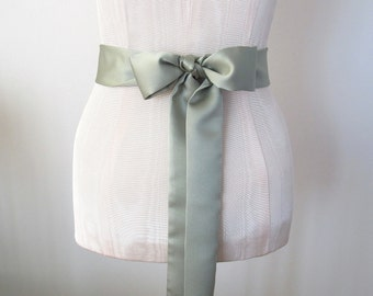 Satin Sash Wedding Sash Bridesmaid Sashes - Sage Green Mint Matte Satin by ccdoodle on etsy - made to order - limited