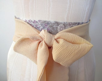 Japanese Kimono Obi Belt Bow Belt Wedding Sash - Lavendar Grey Floral Nude Silk by ccdoodle on etsy - made to order - last one
