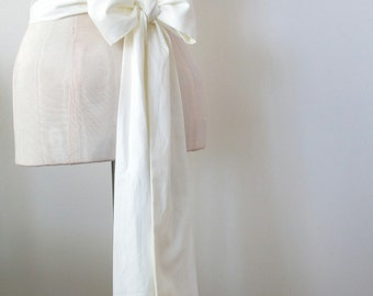 Off White Cotton Sash Wedding Sash Bridal Sash - custom length -  made to order