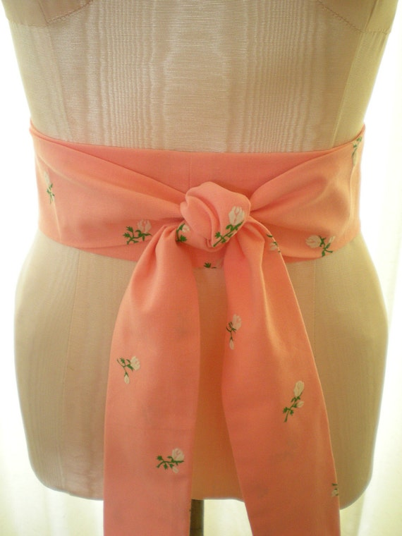 SALE Obi Belt in a Bright Peach Pink with Velvet White Flowers Print Vintage Fabric - ready to ship - last one
