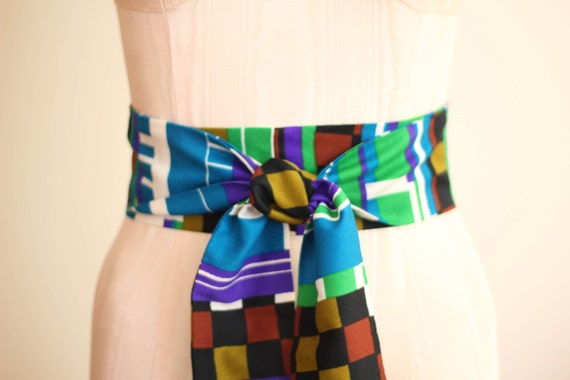 Obi Wrap Belt in a Teal Green Olive Sienna Black White Checkered Acrylic Vintage Fabric - made to order - limited
