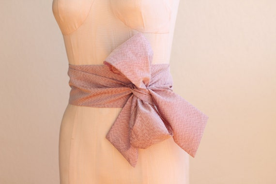 Japanese Obi Belt in Rose Petal Pink Vintage Fabric by ccdoodle on etsy - made to order