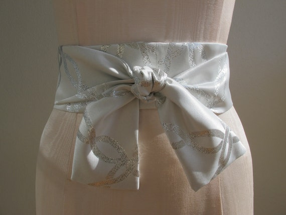 Japanese Obi Belt in a Pearl White and Metallic Silver Satin Fabric - made to order - last one