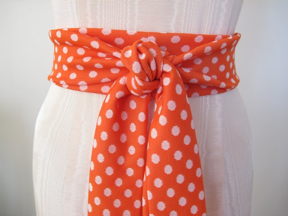 Orange and White Obi Belt in Polka Dots Polyester Knit Vintage Fabric by ccdoodle on etsy - made to order