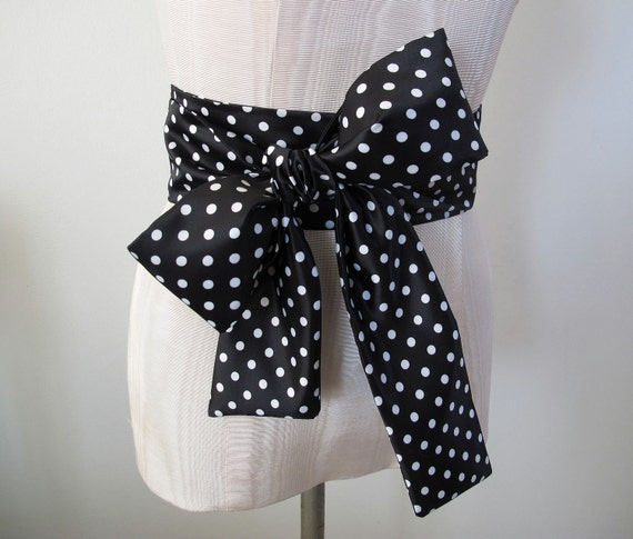 Reserved for Gemma Polka Dot Satin Obi Sash in Black and White Fabric Formal Belt by ccdoodle on etsy - made to order - last one
