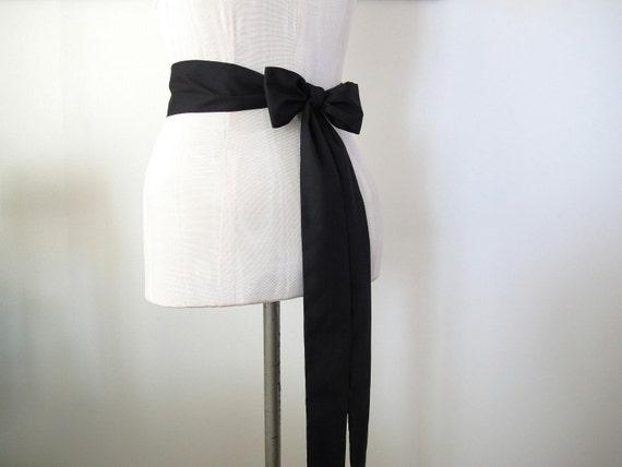 Black Sash, Cotton Sash, Wedding Sash, Cotton Blend Fabric, Long Sash