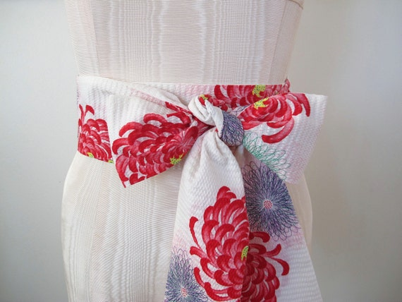 Japanese Obi Belt Cotton Obi Wedding Sash in Off White Red Multi Color Floral Print - made to order - last one