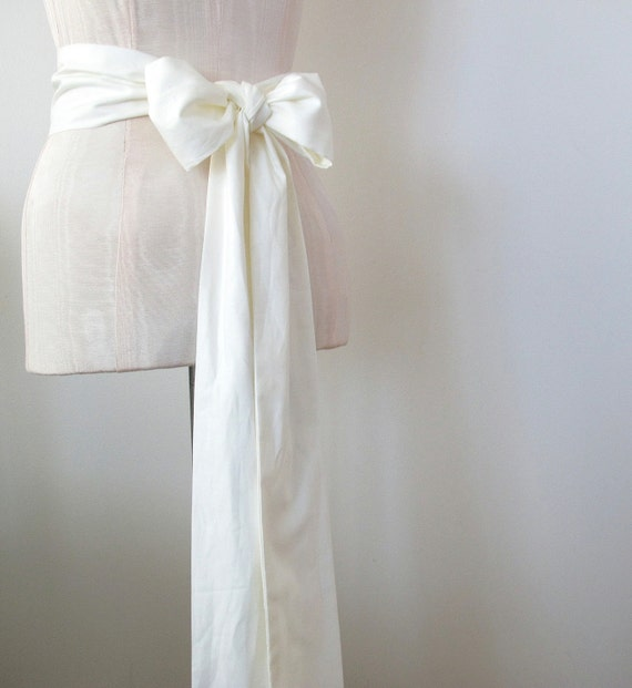 Off White Cotton Sash Wedding Sash Bridal Sash - custom length -  made to order