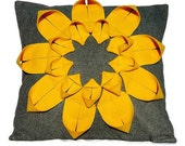 Recycled Felt Pillow - Origami Sunflower Applique Felt Decoration Throw Pillow
