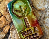 Polymer Clay Hug a Tree Pendant - Earth Day - purplecactusstudios