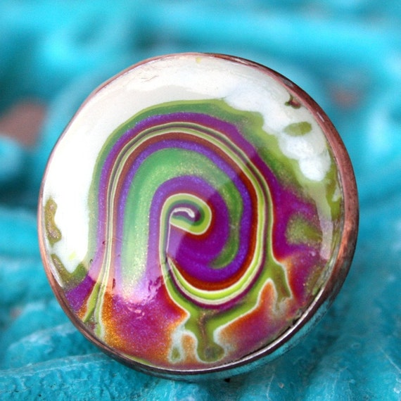 Adjustable Ring in Polymer Clay with Purple and Green Spirit Swirl