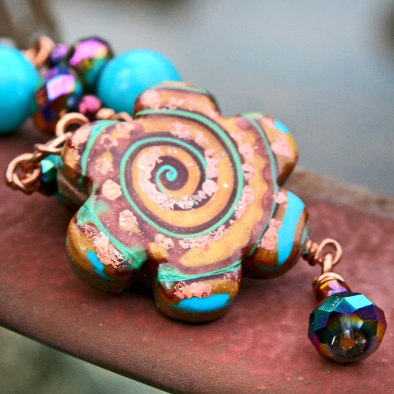 Double Sided Copper Daisy with Turquoise and Lime Swirl Beaded Necklace in Polymer Clay
