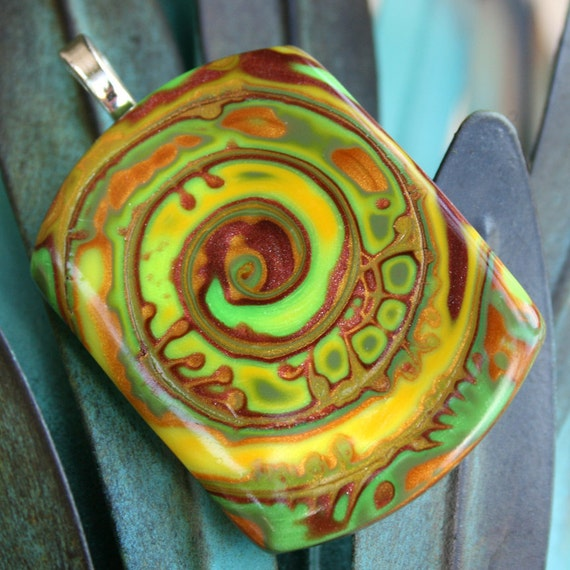 Copper Lime Swirl Polymer Clay Pendant
