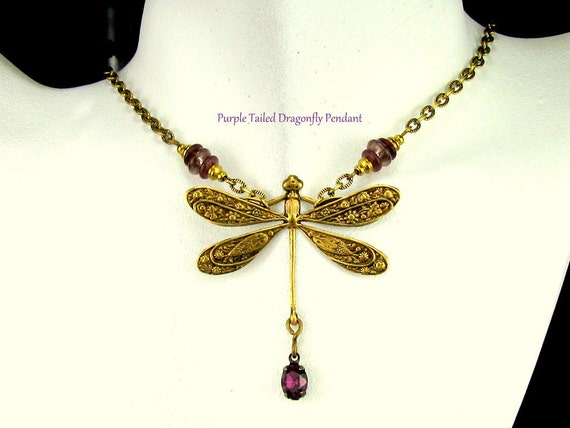 Purple Tailed Dragonfly Pendant / An Original 54 Copper Square Design