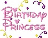 Birthday Princess and Princess Mister and Miss Mouse, TWO Machine Embroidery Designs, Multiple Sizes, including 4 inch