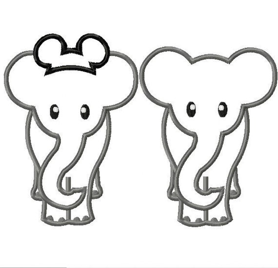 Elephant with and without Mister Mouse ears TWO DESIGNS Machine Applique Embroidery Design, Multiple sizes, including 4 inch