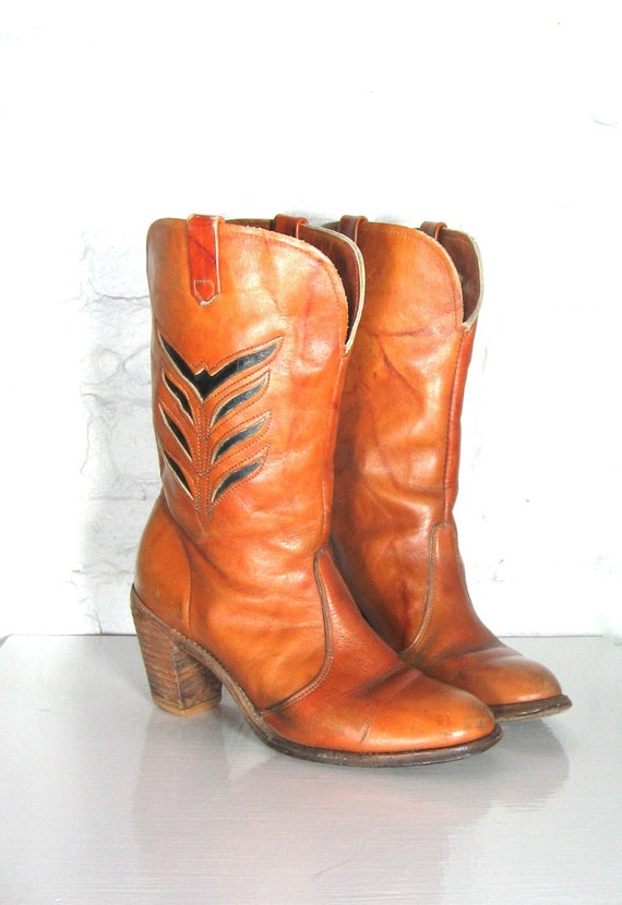 leather cowboy boots w stacked heel 7 1 2 by