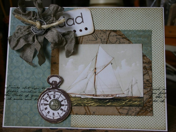 Handmade Dad Card Fathers Day Birthday Vintage Sloop