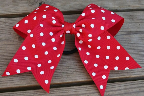 Super Large RED polka Dot Hairbow Valentines Cheer