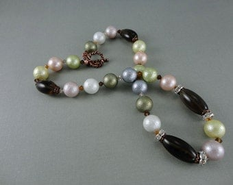 Smoky Quartz, Shell Pearl Crystal Copper Necklace