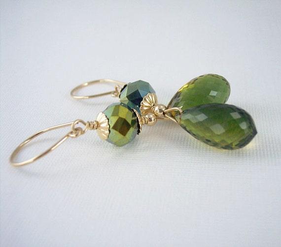 Green/Gold Quartz Gold Filled Earrings