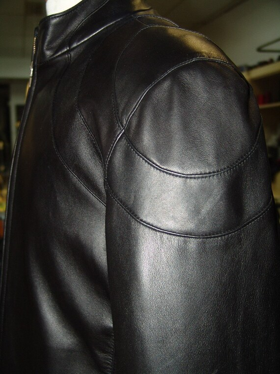 Tailor made - Jet Black Lambskin MOTO CHIC  Leather Men's jacket in your size from S to XXL