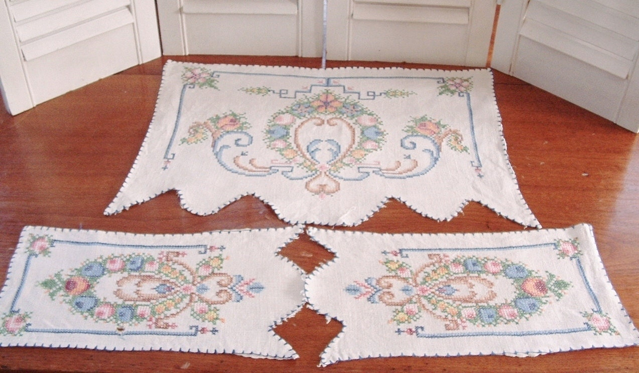 Victorian Armchair Doily Set Cross Stitch By