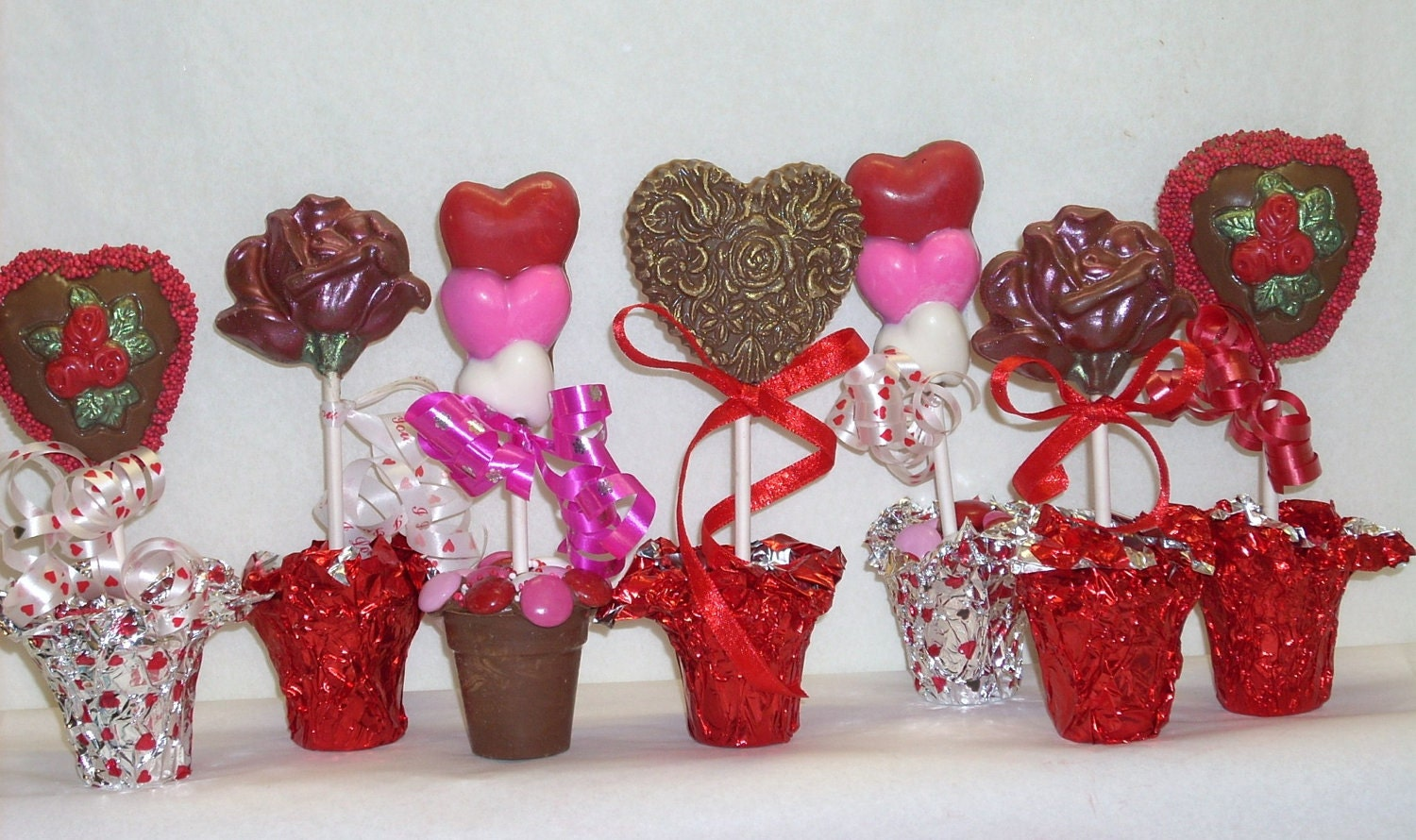 Valentine Chocolate Blooming Hearts and Flowers Lollipops