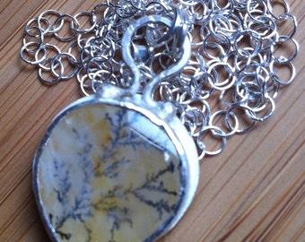 Sterling Silver and Dendritic Quartz Necklace