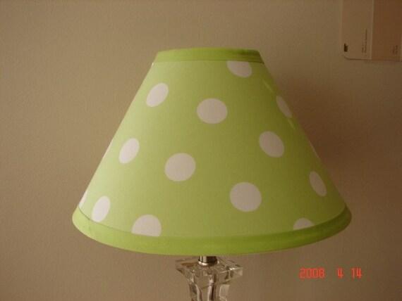 Green And White Polka Dot Lamp Shade Made To Match Company