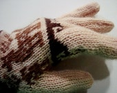 Brown Llamas Dark Waves Tan Winter Gloves with Fingers Alpaca Blend Handknitted