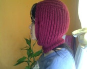 Skihat hand knitted garnet  - Baby Alpaca Ready to ship