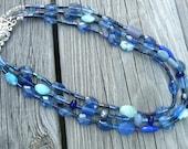 Necklace Multi-Strand Blue