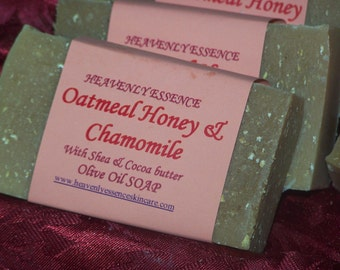 Oatmeal Honey and Chamomile Olive Oil soap for all skin types
