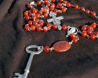carnelian creation - long necklace with cross and skeleton key