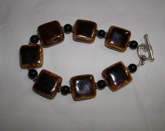 Natural Ceramic and Black Jet Bead BRACELET