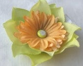 Small Green and Peach Flower Clip