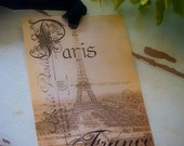 Digital Download, Sepia Vintage Paris, French Collage Sheet for Gift Tags and Scrapbooking