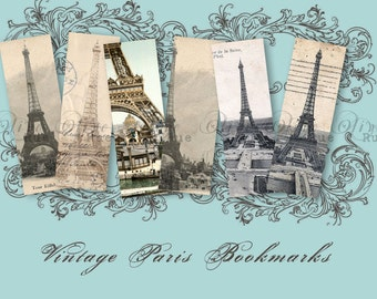 Digital Download, No. 204 Vintage Inspired Bookmarks Collage Sheet