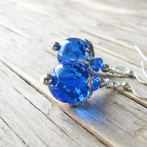 Royal Blue Earrings, Medium Blue Czech Glass Beads, Silver Plated Metals - Blue Dangles, Fashion Jewelry