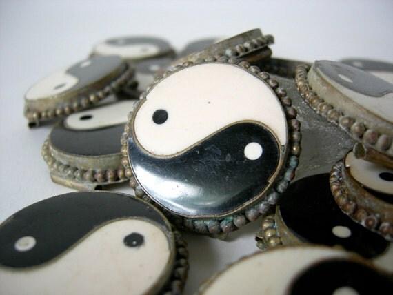 Yin Yang Belt Fragments, Boho Belt Pieces, Chinese Philosophy, Balance Symbols, Age of Aquarius, Assemblage Supplies