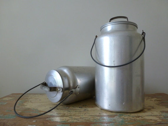 Pair of Aluminum Milk Pails