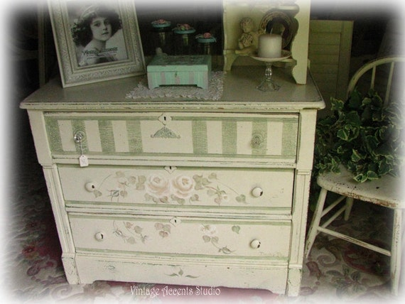 Antique Vintage Dresser Hand Painted White Roses Shabby Cottage French Chic