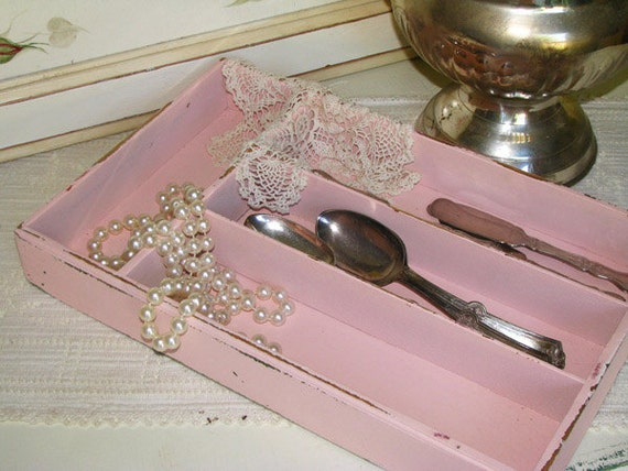 Vintage Wood Utensil Tray Shabby Cottage Painted Pink WLV