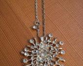 Vintage Starburst Brooch Rhinestone Necklace Repurposed Statement