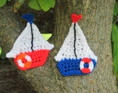 Ahoy, Red, White, and Blue Sailboat Appliques on the horizon.   Custom orders always available.