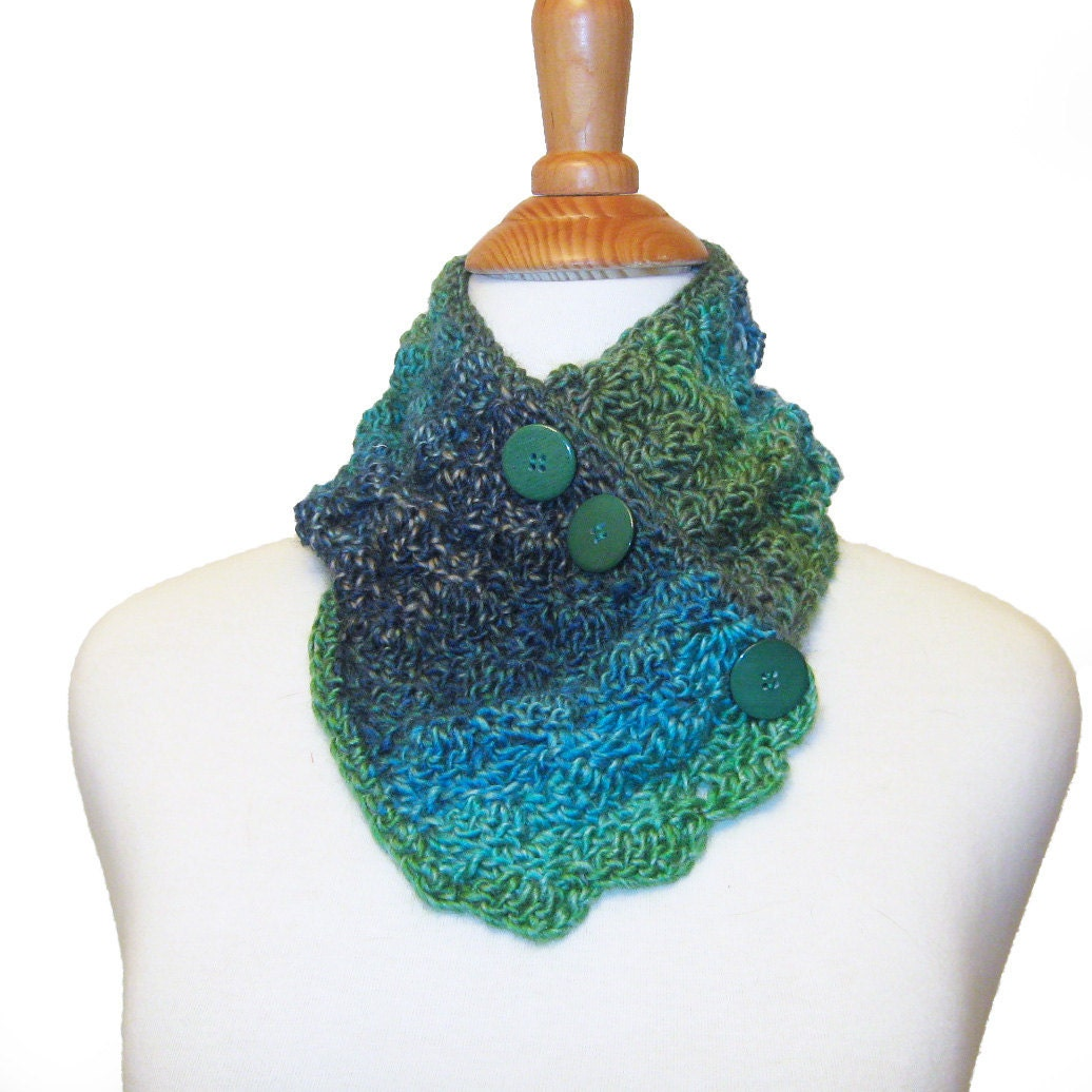 Neck Warmer Button Scarf Crochet Cowl Green by ExpressiveStitches Cowl Neck Scarves Crochet