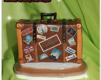 Suitcase Travels Wedding Cake Topper Personalized Enchanted You